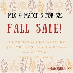🍁FALL SALE 3 for $25 on EVERYTHING $20 & Under🍁